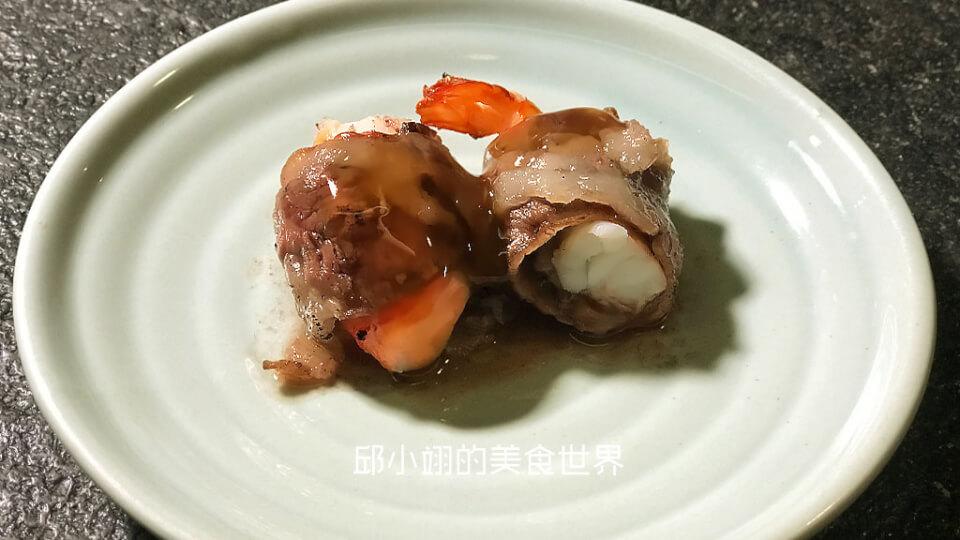 烈焰牛小排鮮蝦搭配嫩薑甘草醬