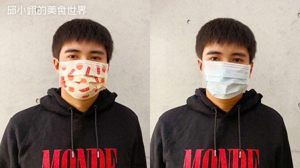 图为大桔大利医用口罩和一般素面医用口罩比较图